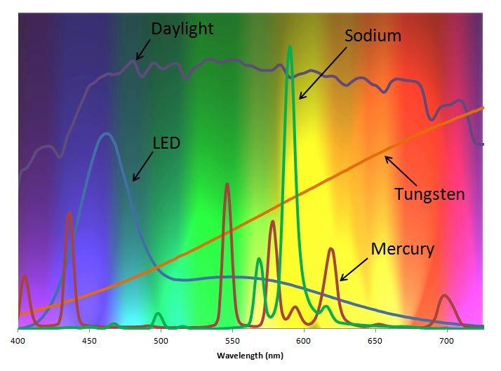 Spectra of Common White Light Sources